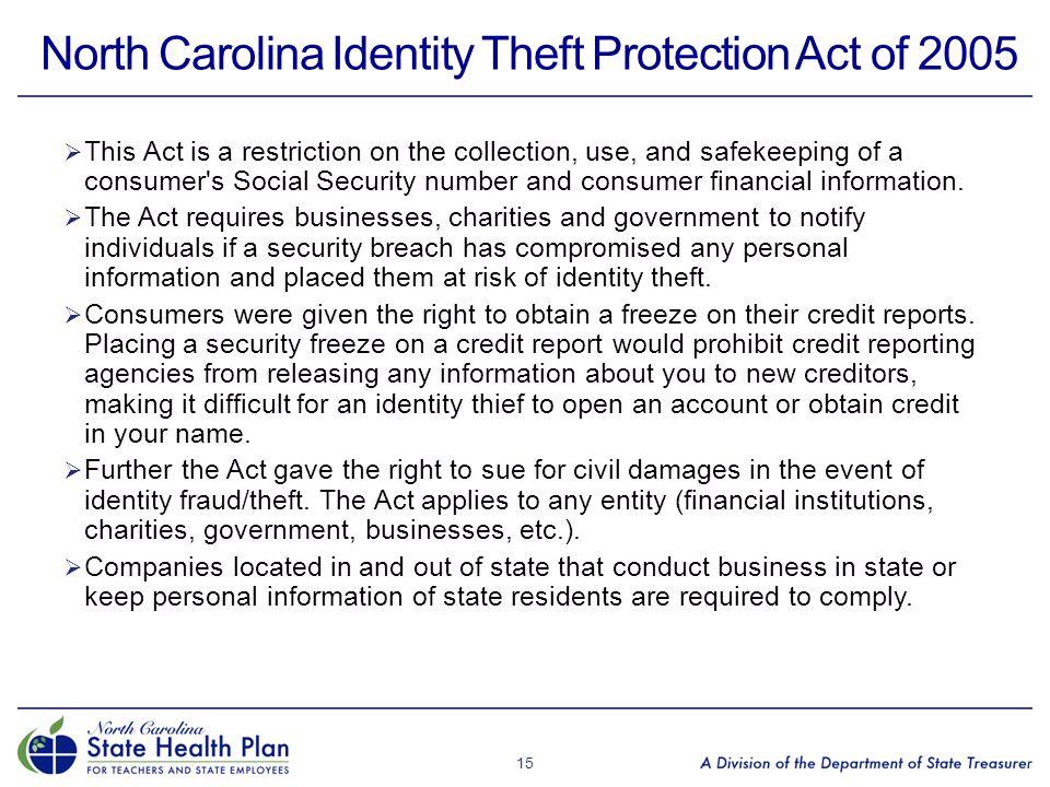North Carolina Identity Theft Protection Act of 2005