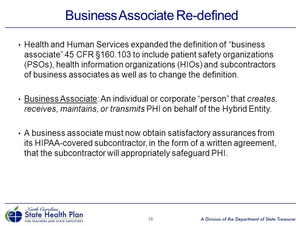 Business Associate Re-defined