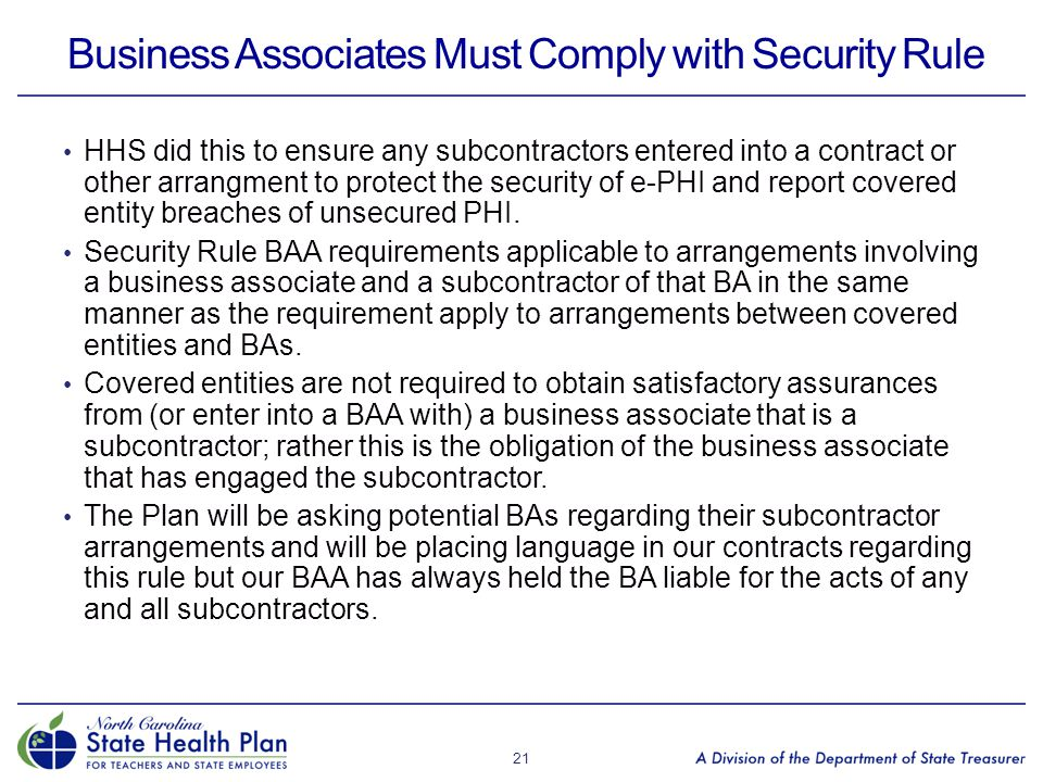 Business Associates Must Comply with Security Rule