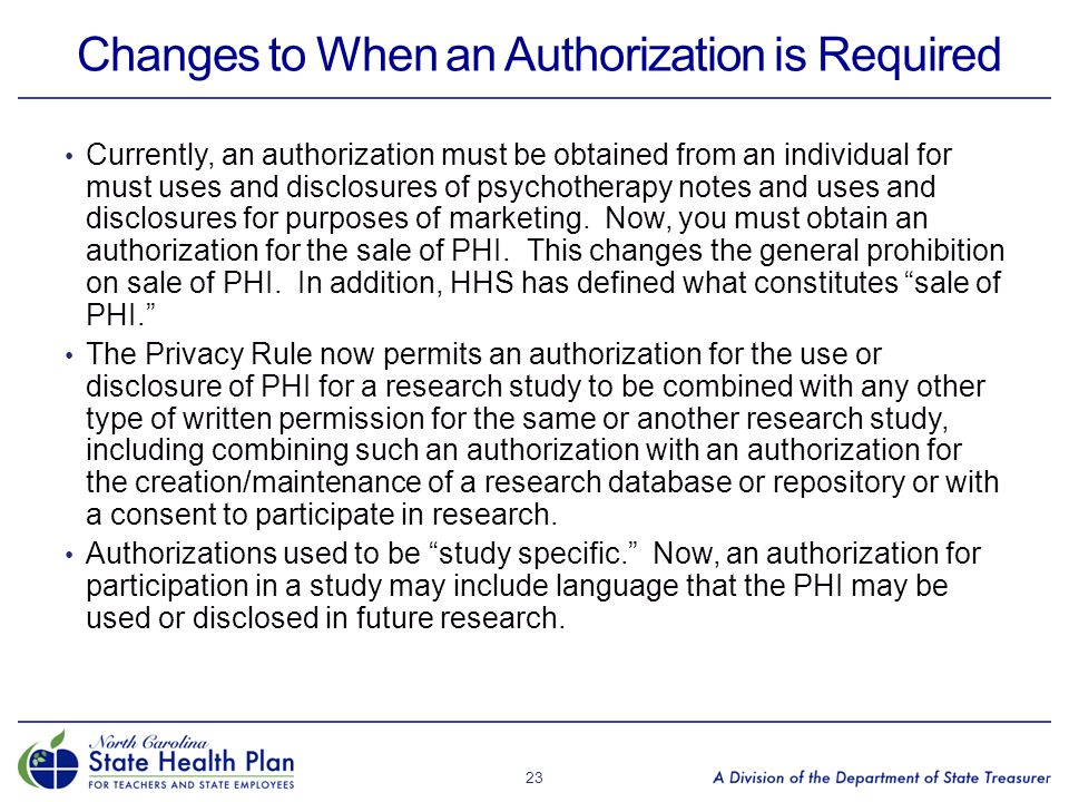 Changes to When an Authorization is Required