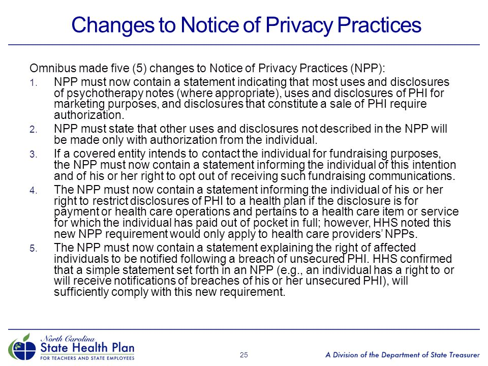 Changes to Notice of Privacy Practices