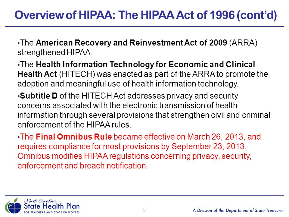 Overview of HIPAA: The HIPAA Act of 1996 (cont'd)
