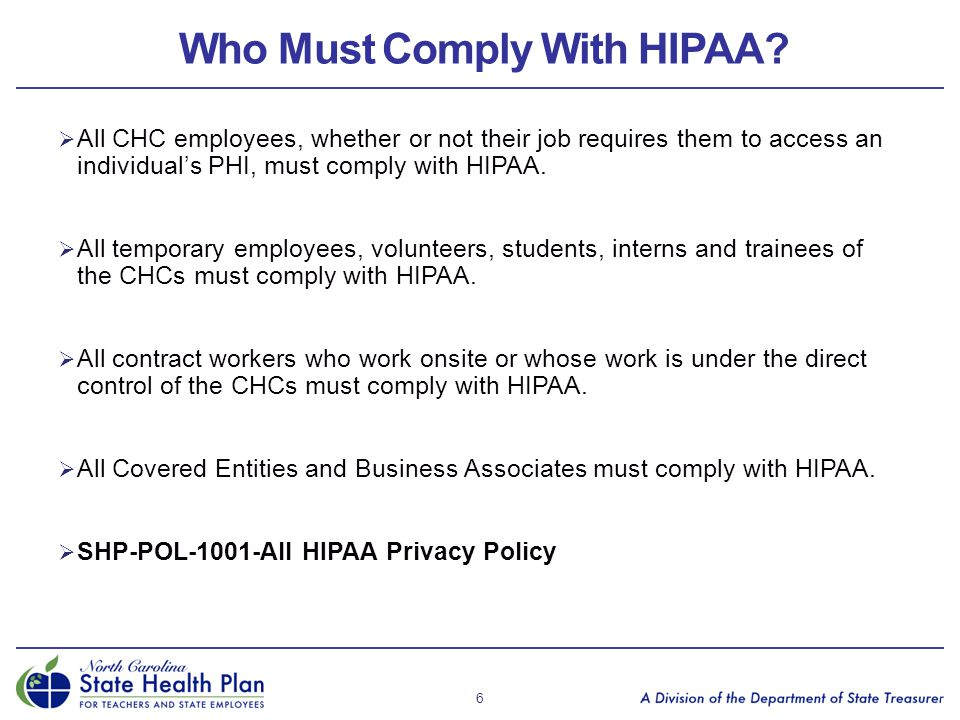 Who Must Comply With HIPAA