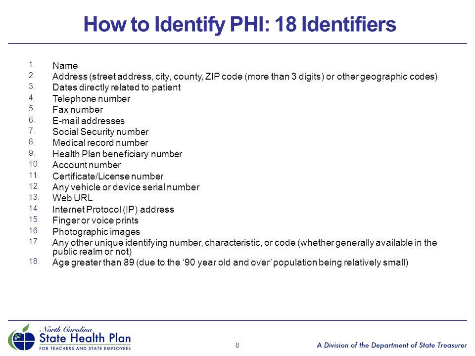 How to Identify PHI: 18 Identifiers