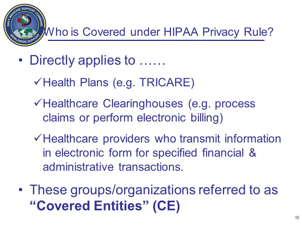Who is Covered under HIPAA Privacy Rule