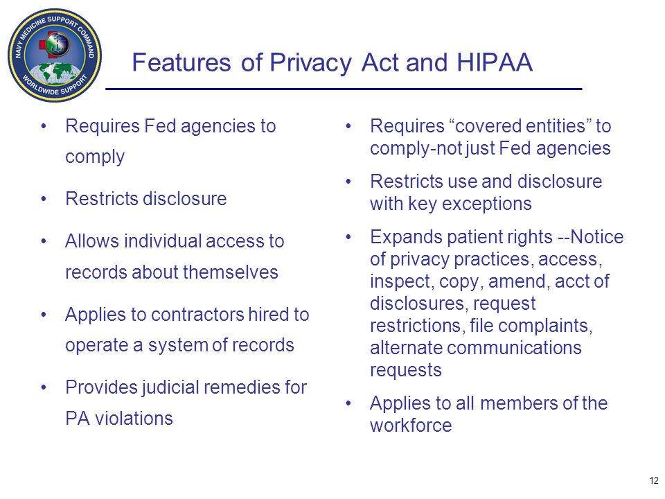 Features of Privacy Act and HIPAA