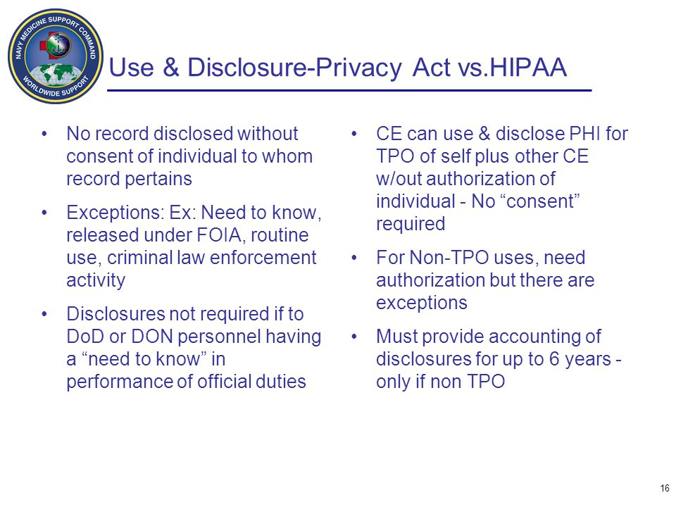 Use & Disclosure-Privacy Act vs.HIPAA