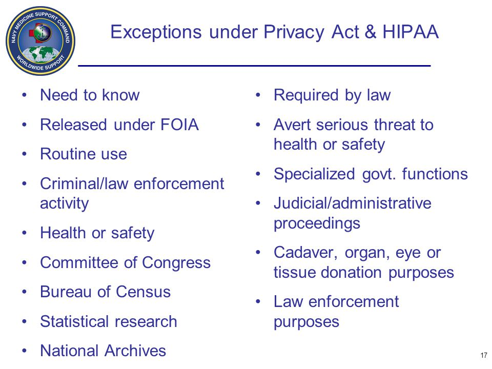 Exceptions under Privacy Act & HIPAA