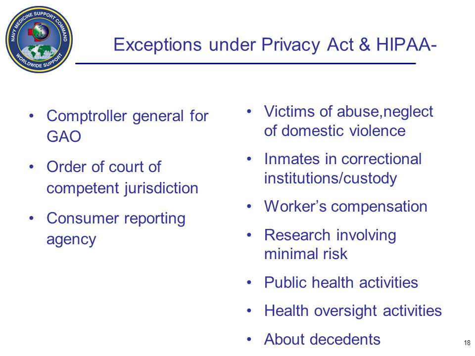Exceptions under Privacy Act & HIPAA-