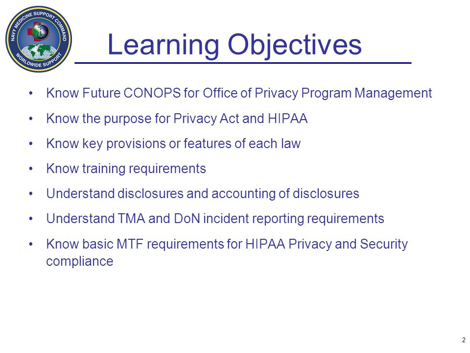 Learning Objectives Know Future CONOPS for Office of Privacy Program Management. Know the purpose for Privacy Act and HIPAA.