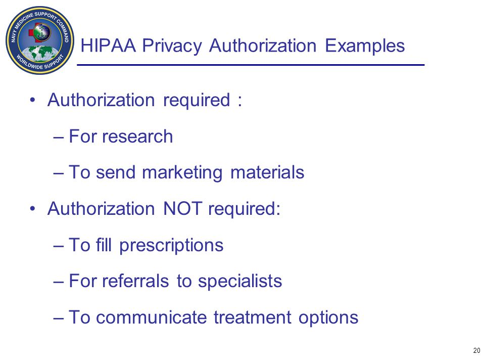 HIPAA Privacy Authorization Examples