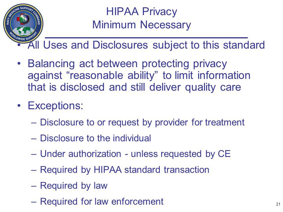 HIPAA Privacy Minimum Necessary
