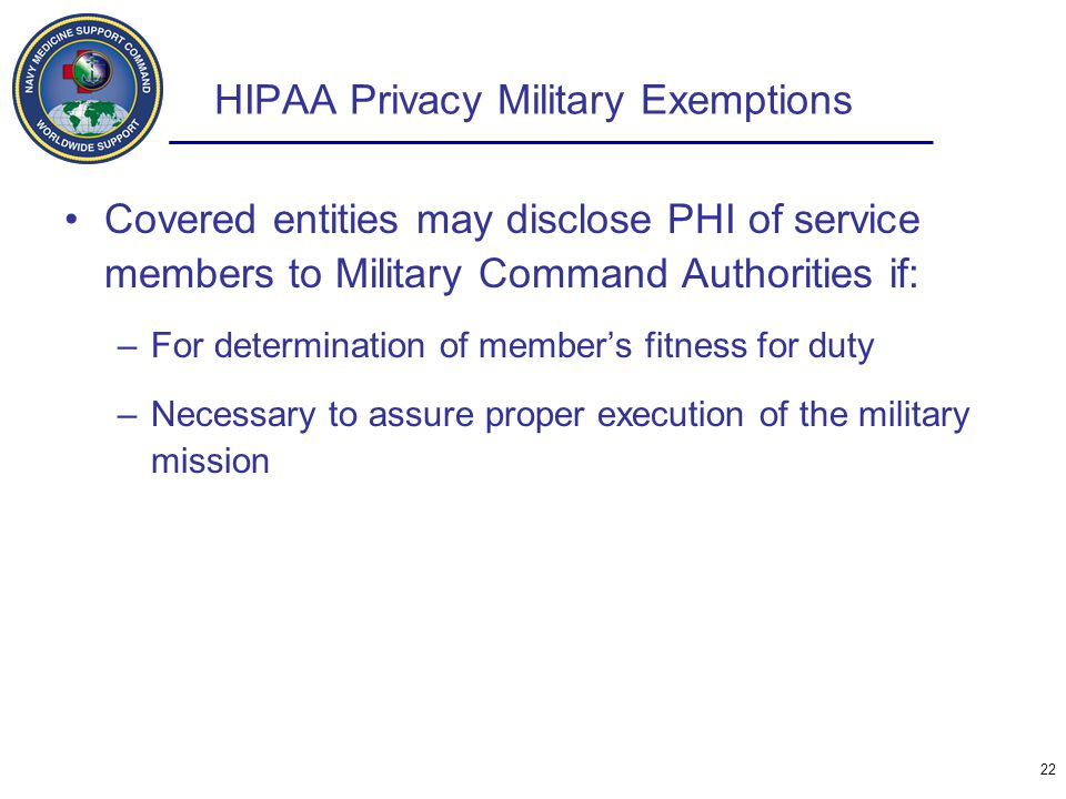HIPAA Privacy Military Exemptions