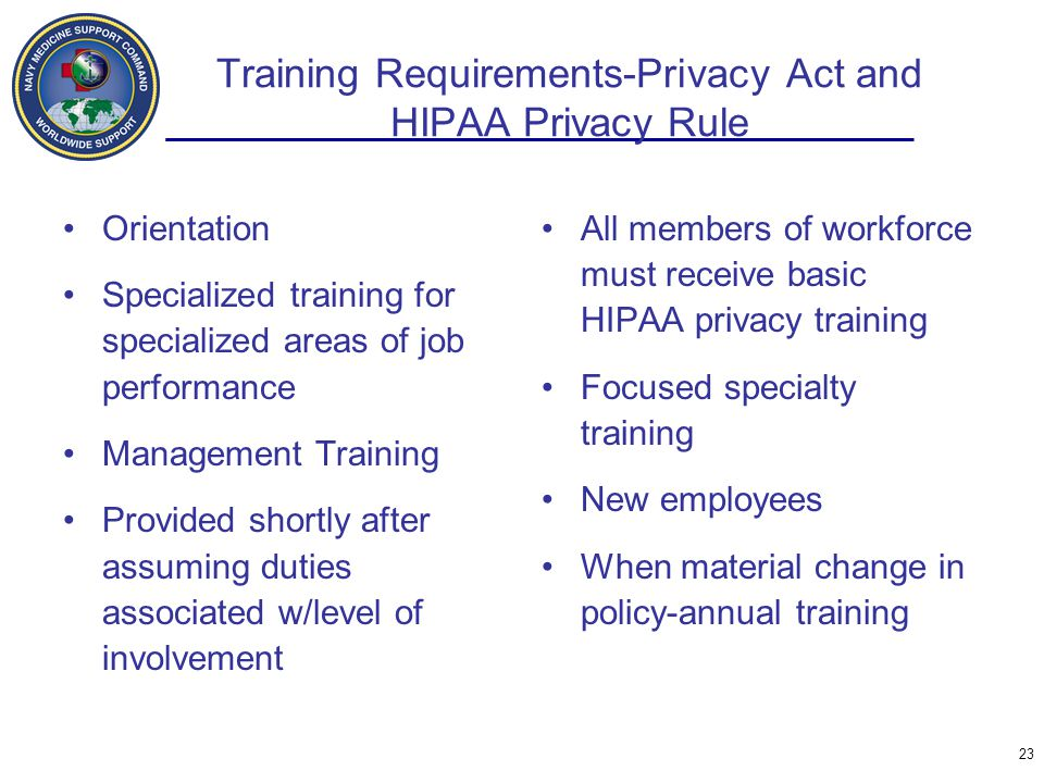 Training Requirements-Privacy Act and HIPAA Privacy Rule