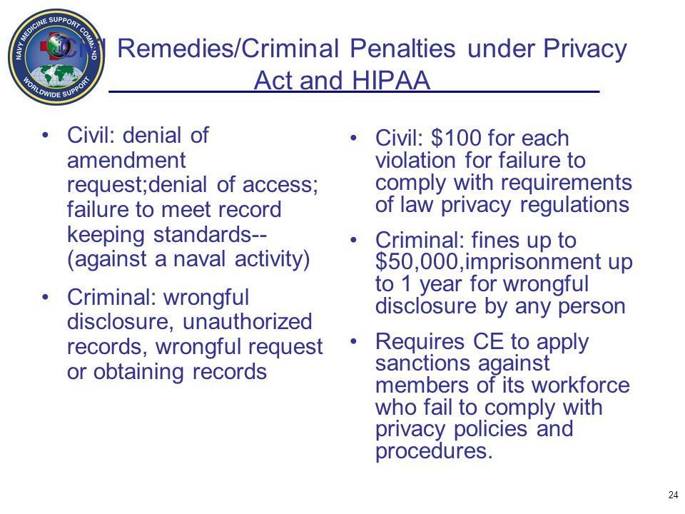 Civil Remedies/Criminal Penalties under Privacy Act and HIPAA