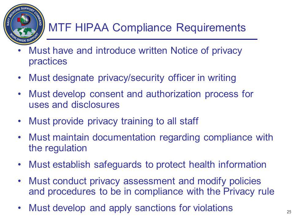 MTF HIPAA Compliance Requirements
