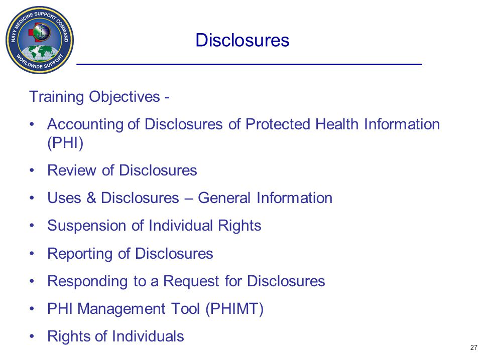 Disclosures Training Objectives -