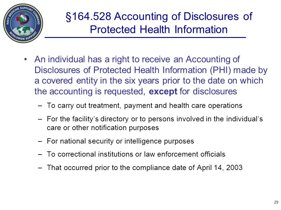 §164.528 Accounting of Disclosures of Protected Health Information