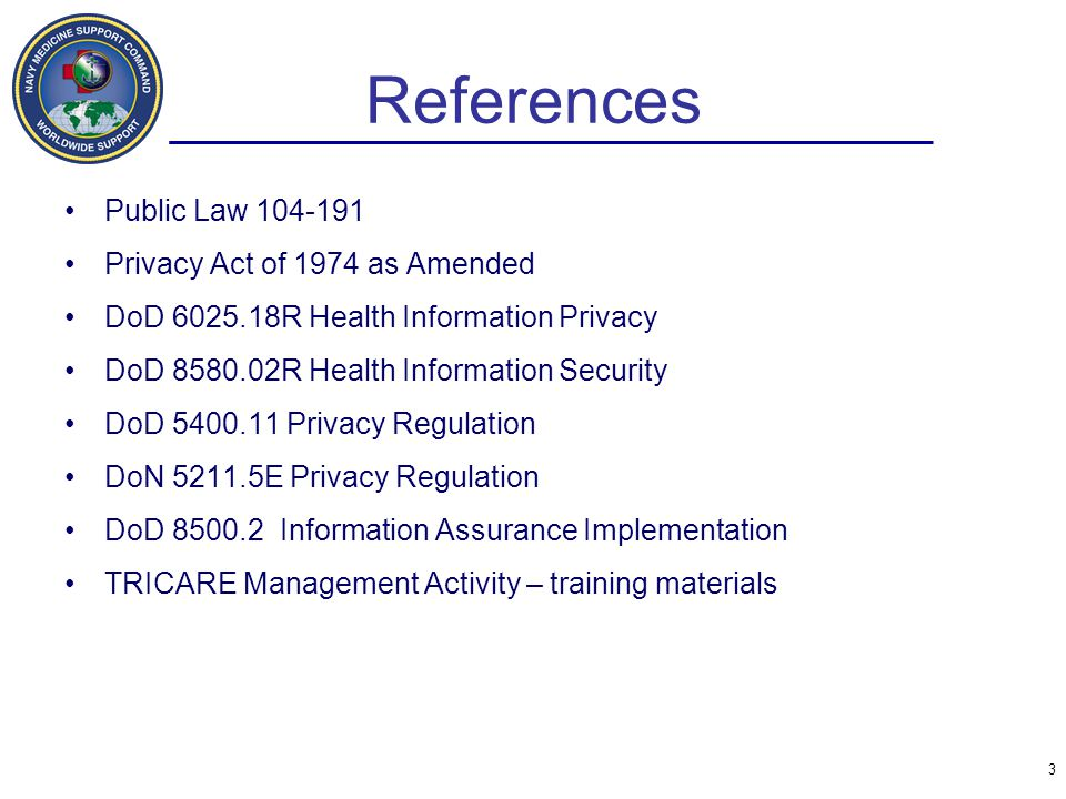 References Public Law 104-191 Privacy Act of 1974 as Amended