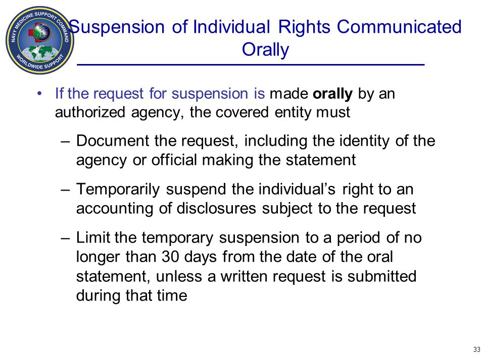 Suspension of Individual Rights Communicated Orally