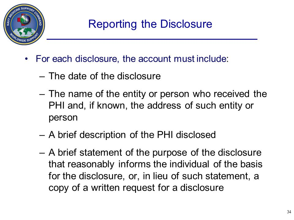 Reporting the Disclosure