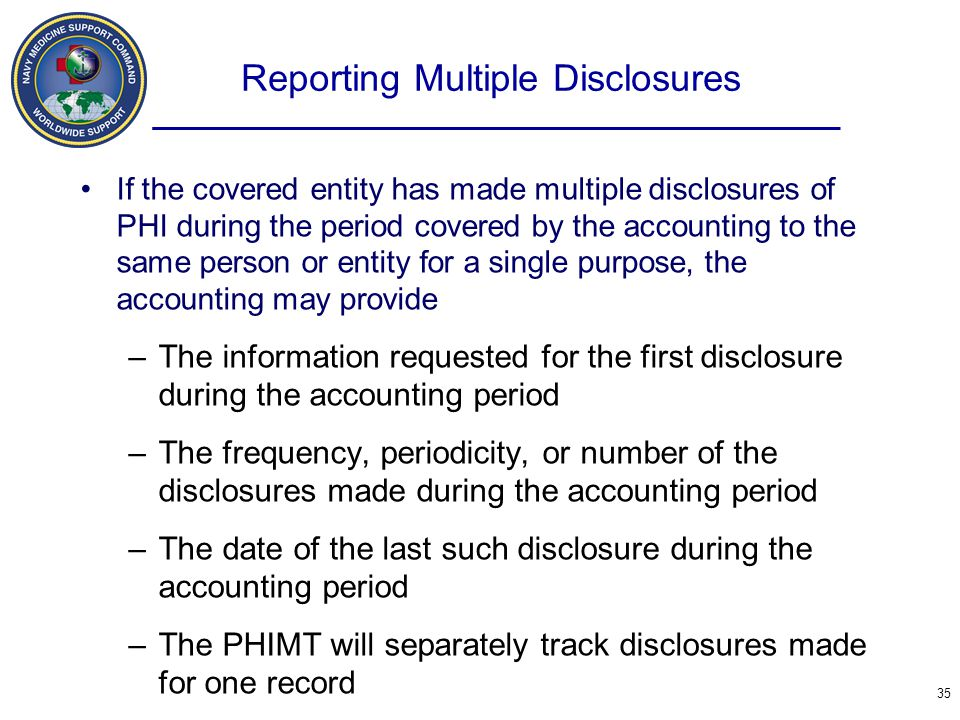 Reporting Multiple Disclosures