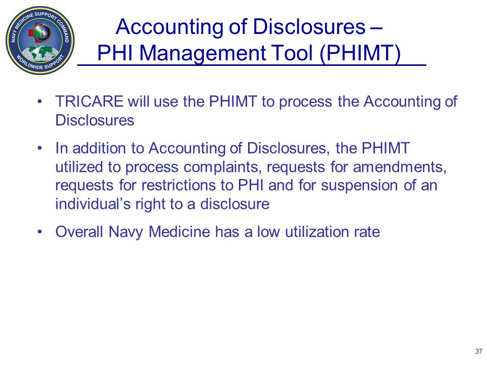 Accounting of Disclosures – PHI Management Tool (PHIMT)
