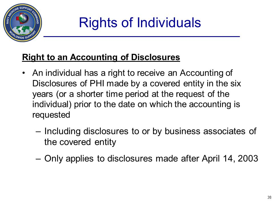 Rights of Individuals Right to an Accounting of Disclosures.