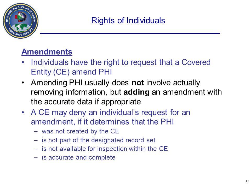 Rights of Individuals Amendments