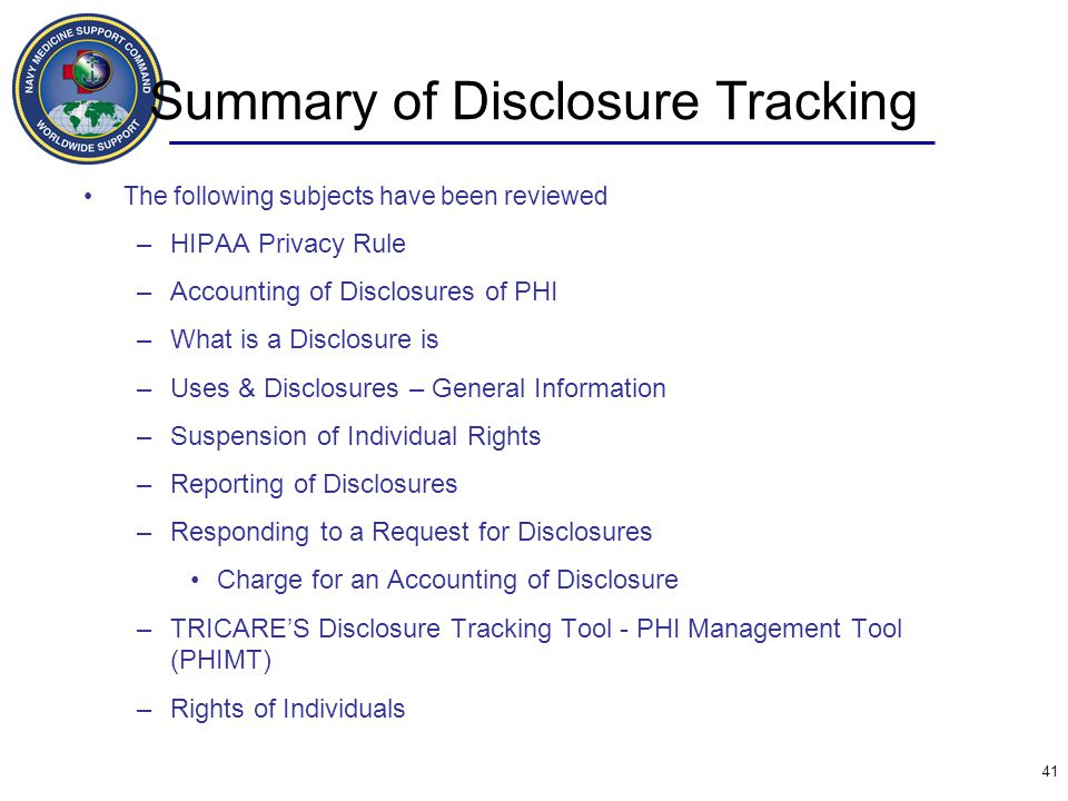 Summary of Disclosure Tracking