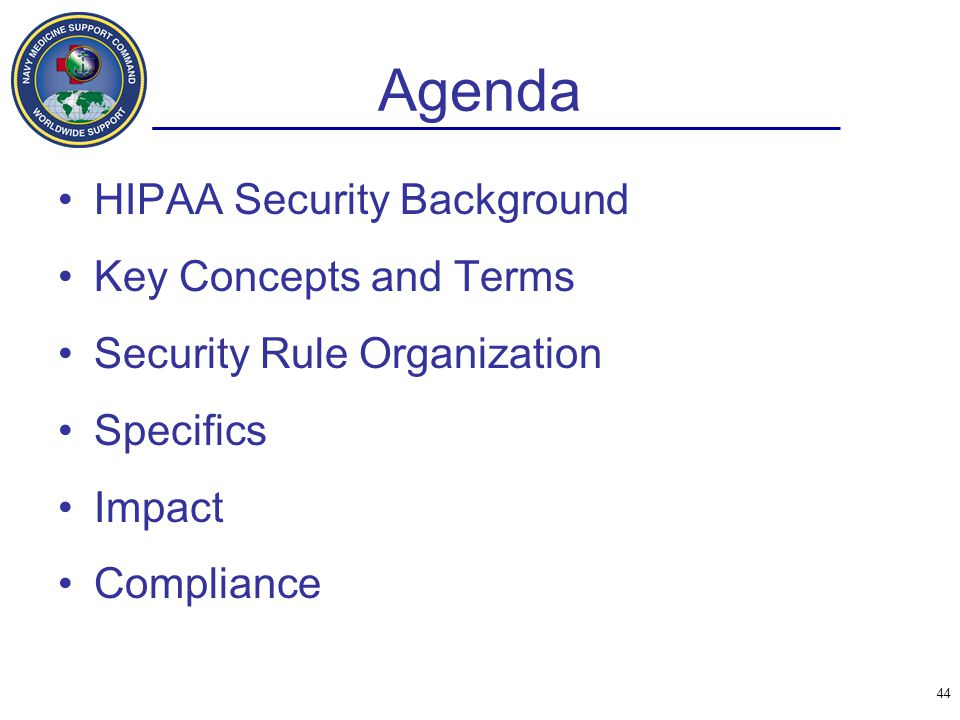 Agenda HIPAA Security Background Key Concepts and Terms
