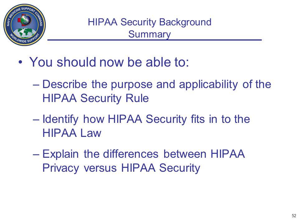 HIPAA Security Background Summary