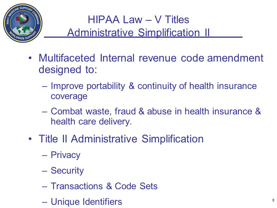 HIPAA Law – V Titles Administrative Simplification II