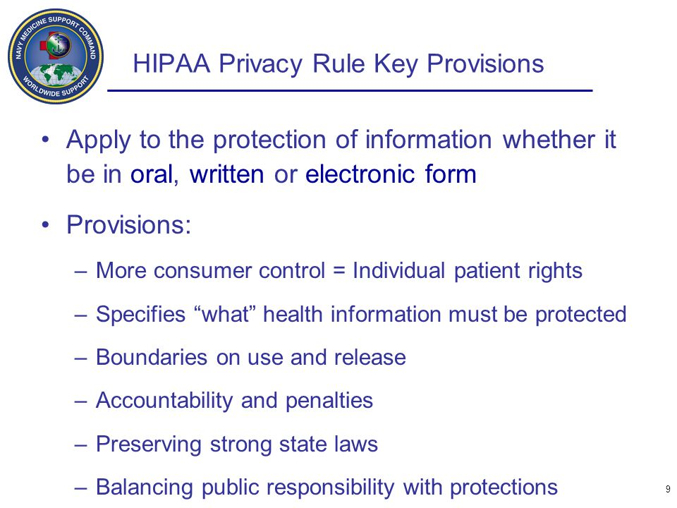 HIPAA Privacy Rule Key Provisions