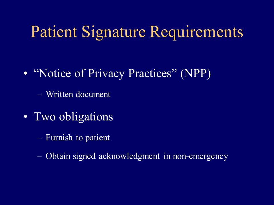 Patient Signature Requirements
