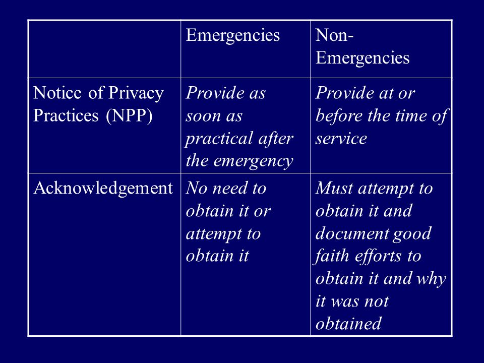 Emergencies Non-Emergencies. Notice of Privacy Practices (NPP) Provide as soon as practical after the emergency.