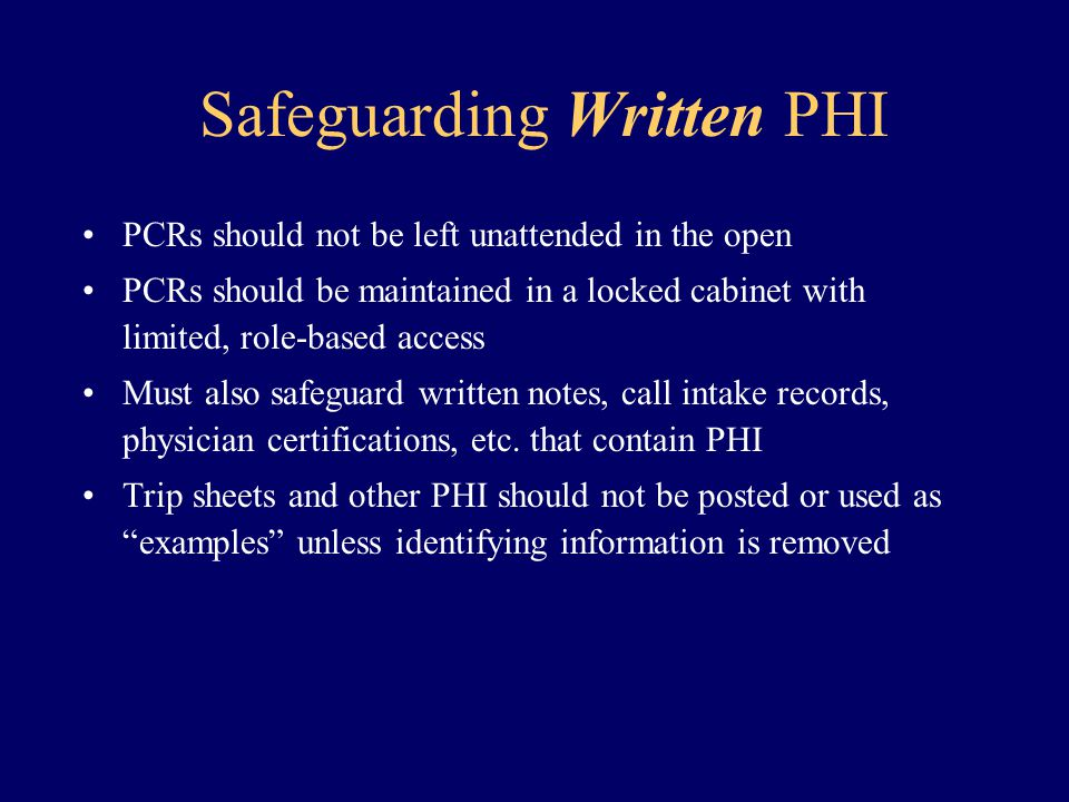 Safeguarding Written PHI