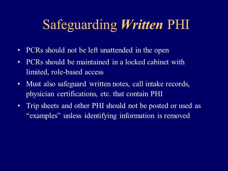 Safeguarding Written PHI