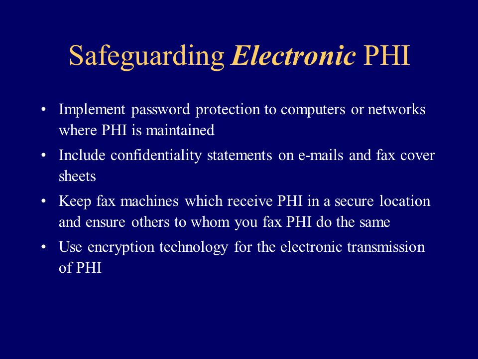 Safeguarding Electronic PHI