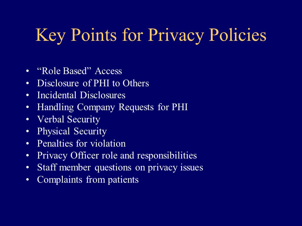 Key Points for Privacy Policies
