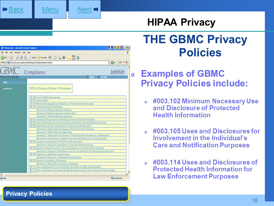 THE GBMC Privacy Policies