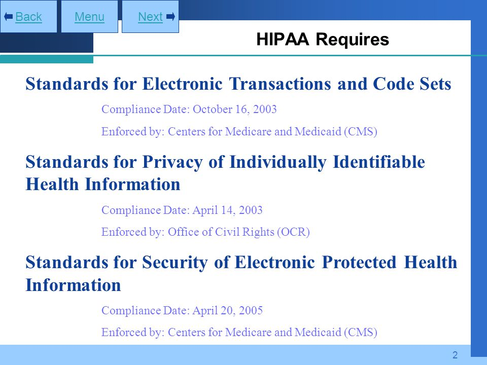 Standards for Electronic Transactions and Code Sets