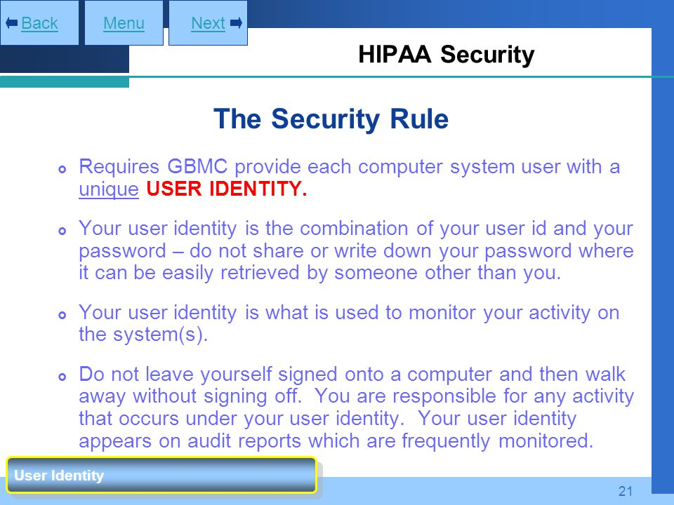 The Security Rule HIPAA Security
