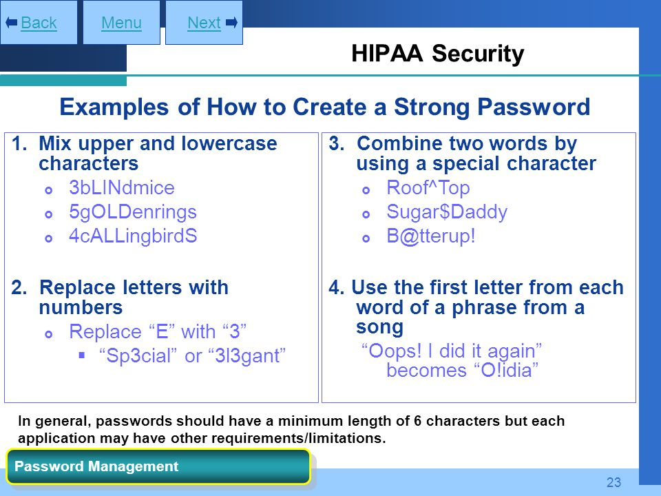 Examples of How to Create a Strong Password