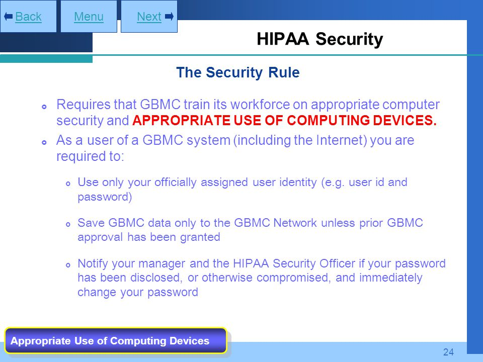 HIPAA Security The Security Rule
