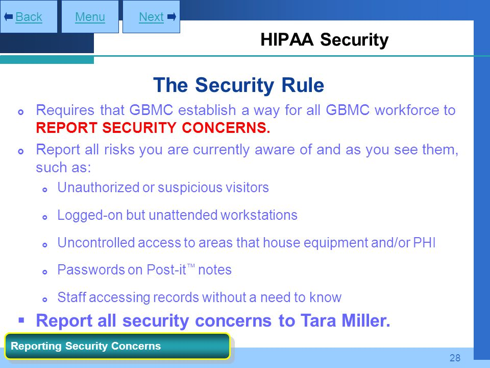 The Security Rule HIPAA Security