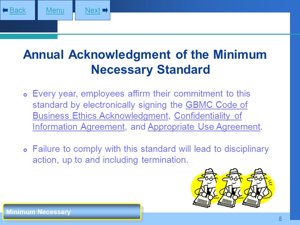 Annual Acknowledgment of the Minimum Necessary Standard