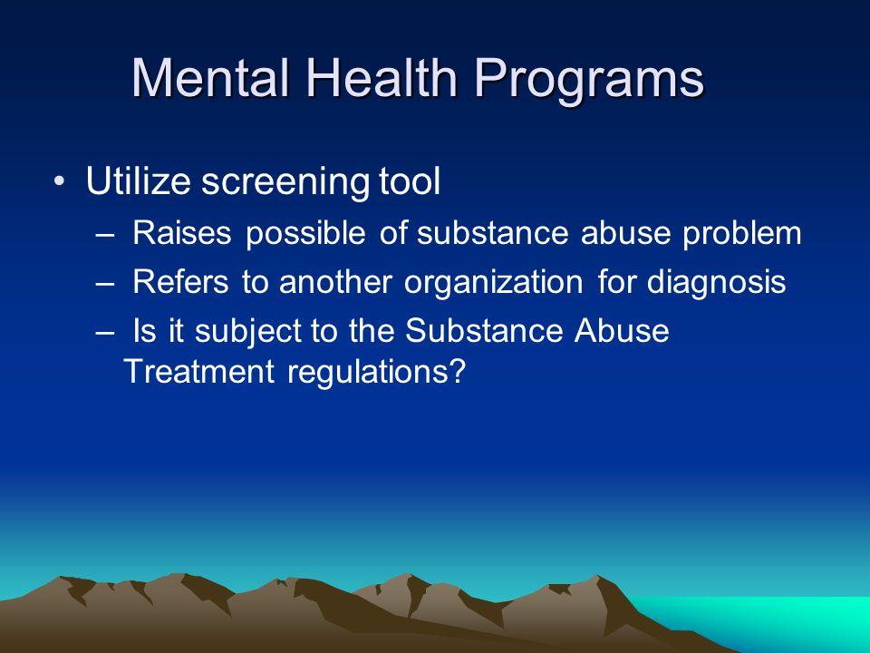 Mental Health Programs