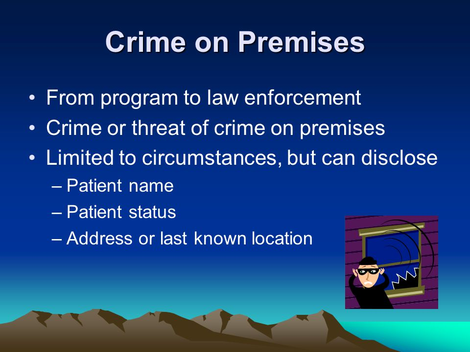 Crime on Premises From program to law enforcement