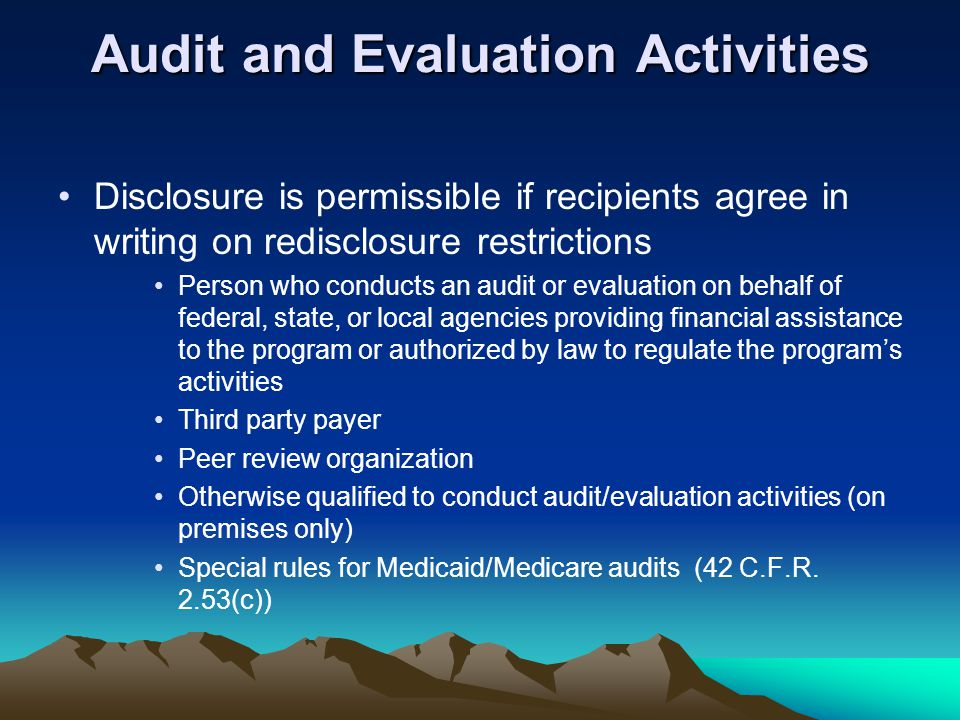 Audit and Evaluation Activities
